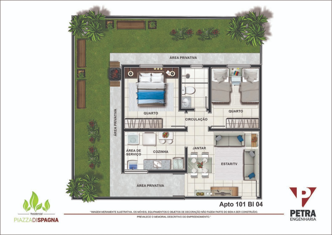 Planta Apartamento 101 - Bloco 04