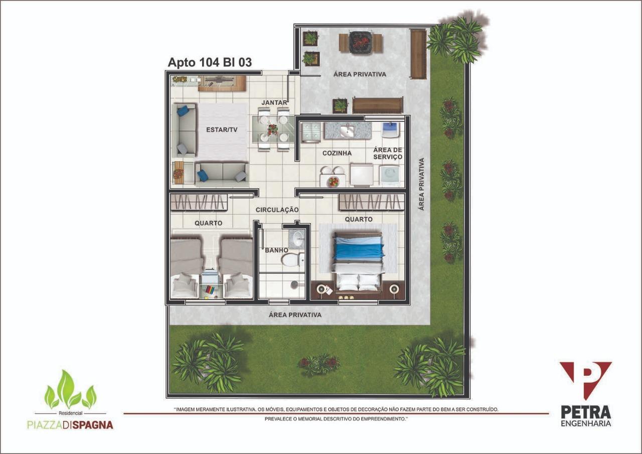 Planta Apartamento 104 - Bloco 03