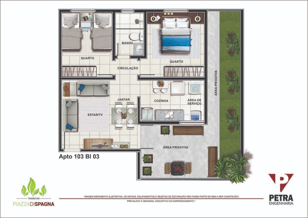 Planta Apartamento 103 - Bloco 03