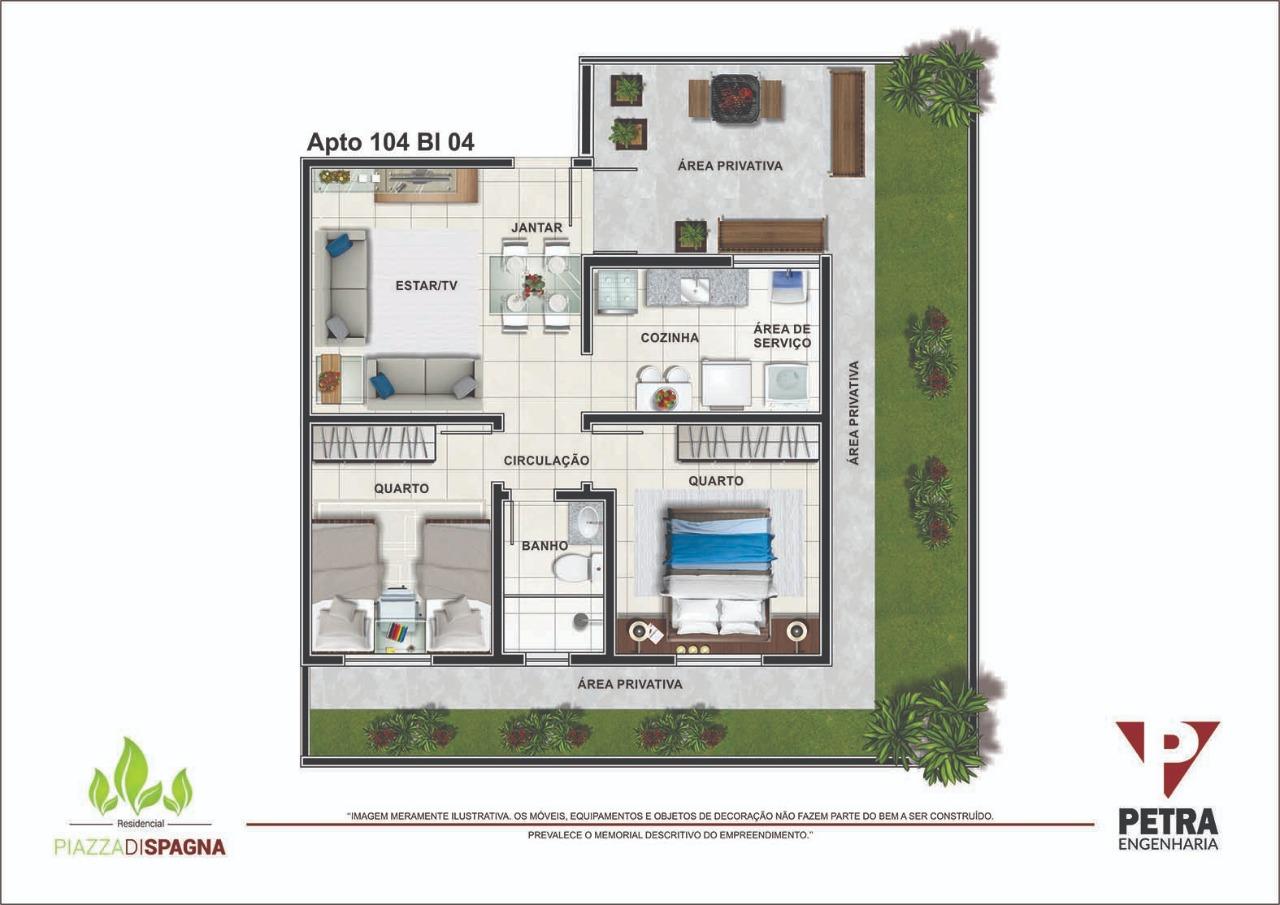 Planta Apartamento 104 - Bloco 04