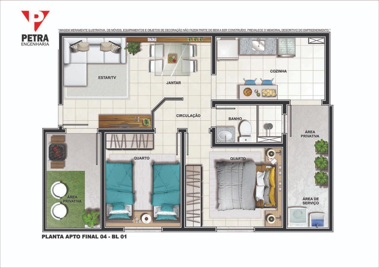 Planta Apartamento - Tipo 01 - 45.56 m²