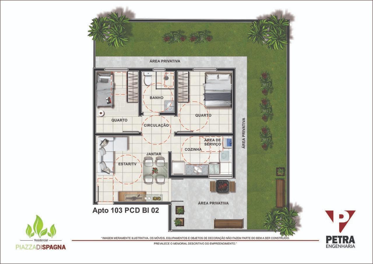 Planta Apartamento 103 PCD - Bloco 02