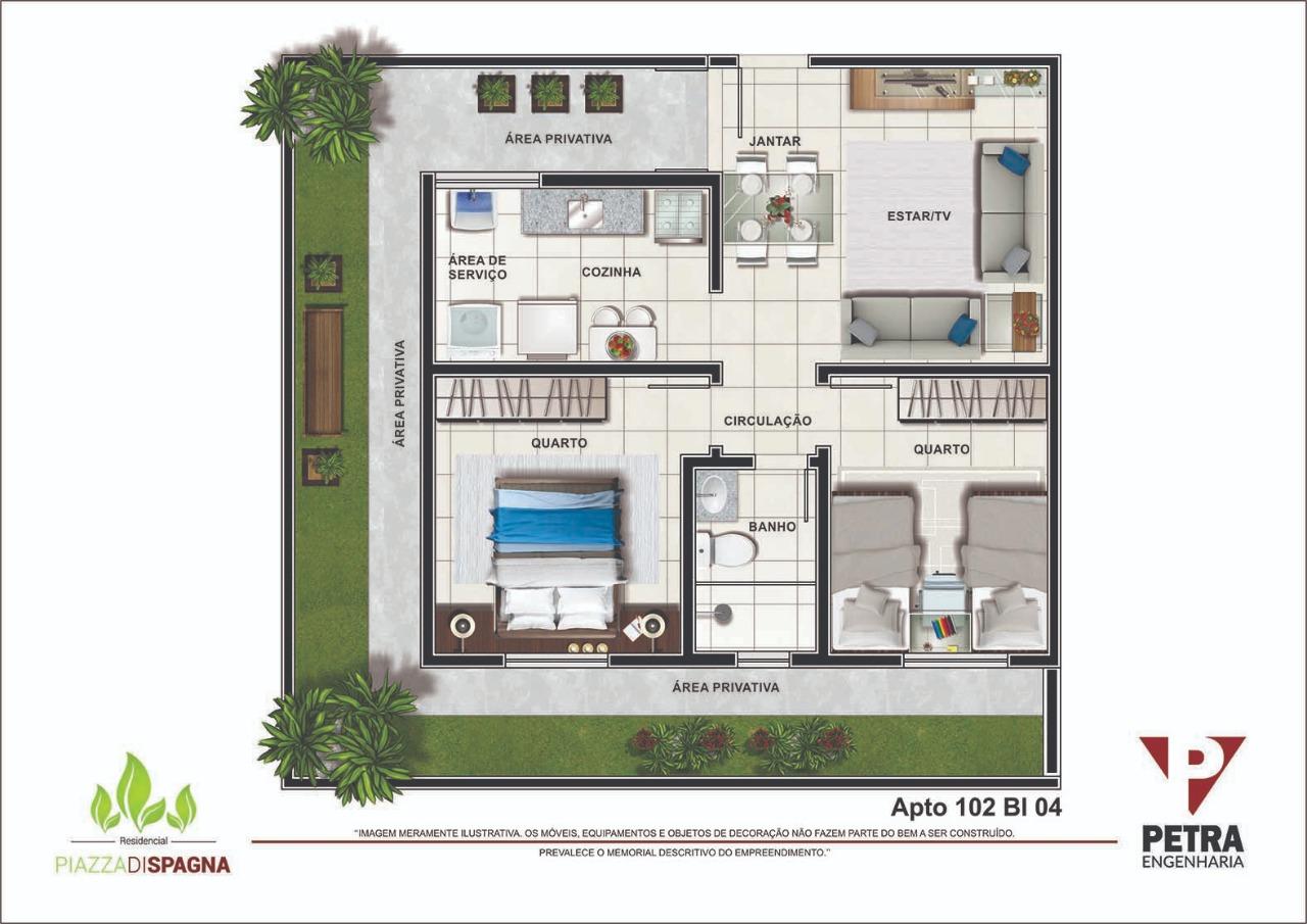 Planta Apartamento 102 - Bloco 04