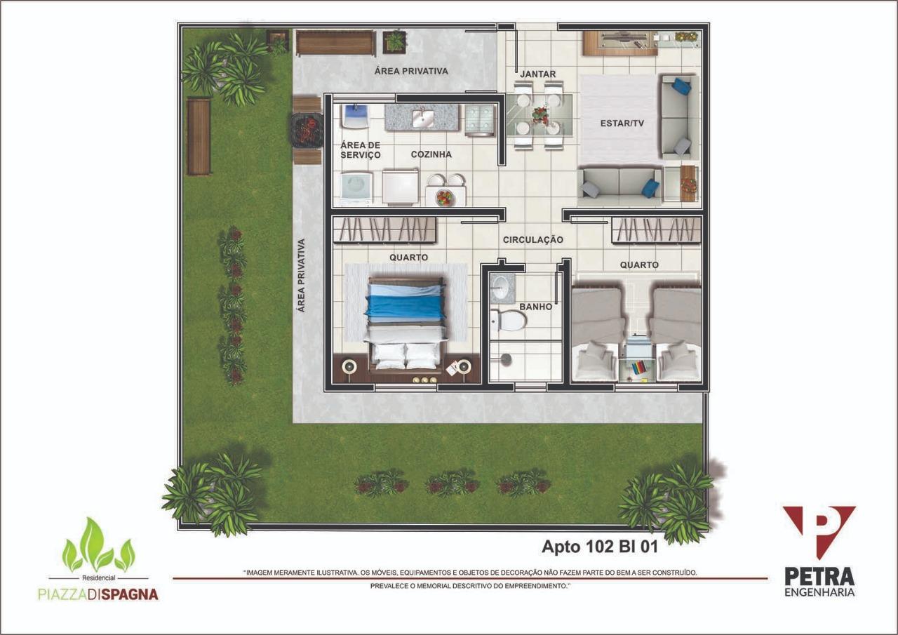 Planta Apartamento 102 - Bloco 01