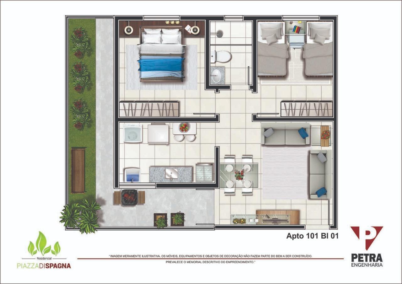Planta Apartamento 101 - Bloco 01
