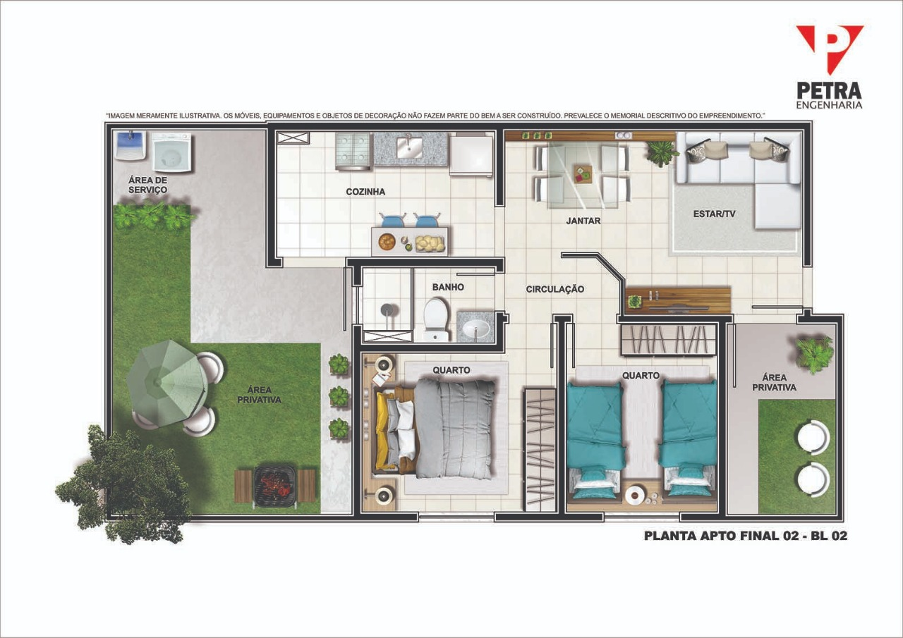 Planta Apartamento - Tipo 03 - 45 m²