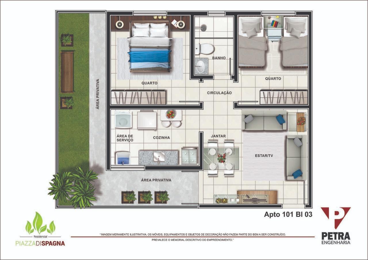 Planta Apartamento 101 - Bloco 03