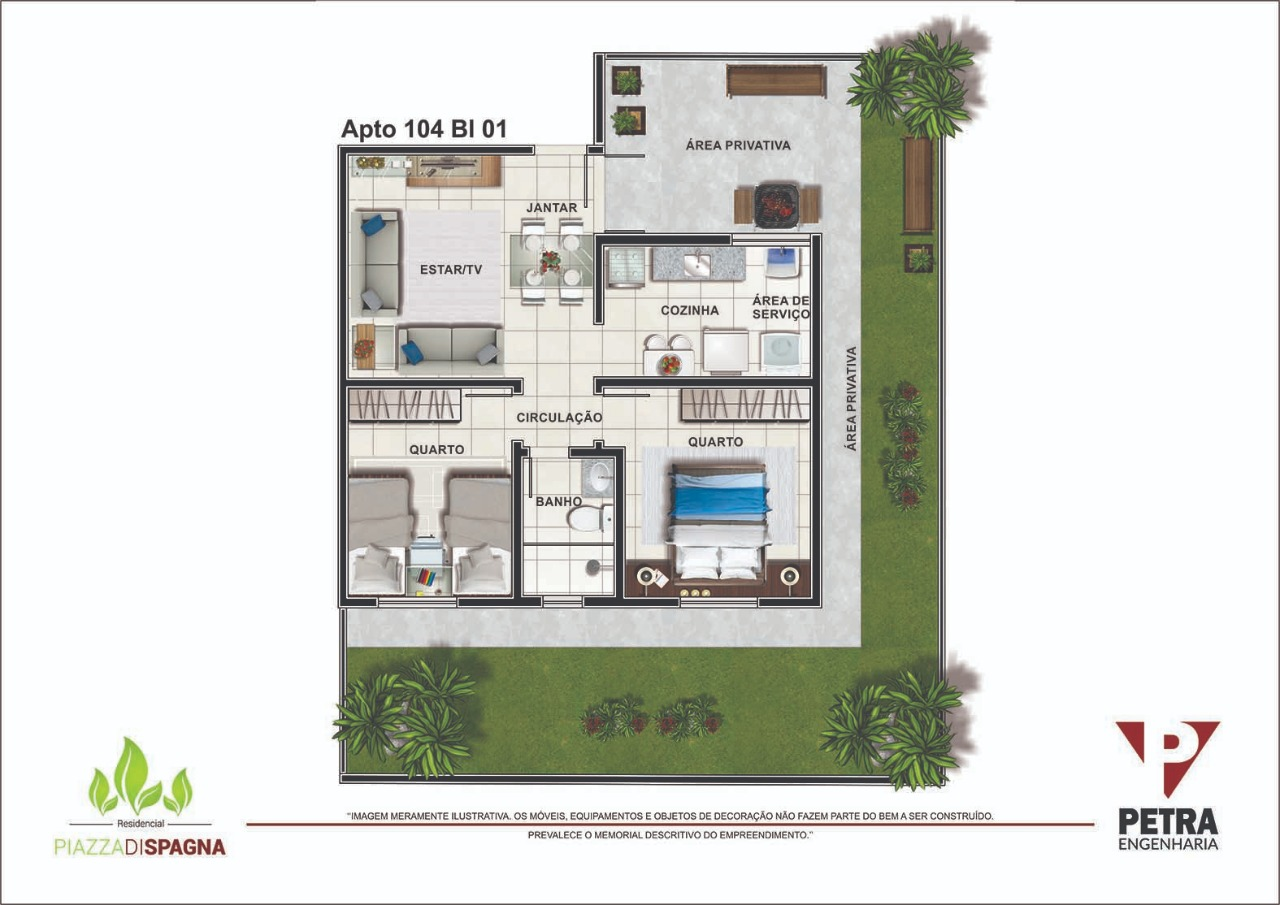 Planta Apartamento 104 - Bloco 01