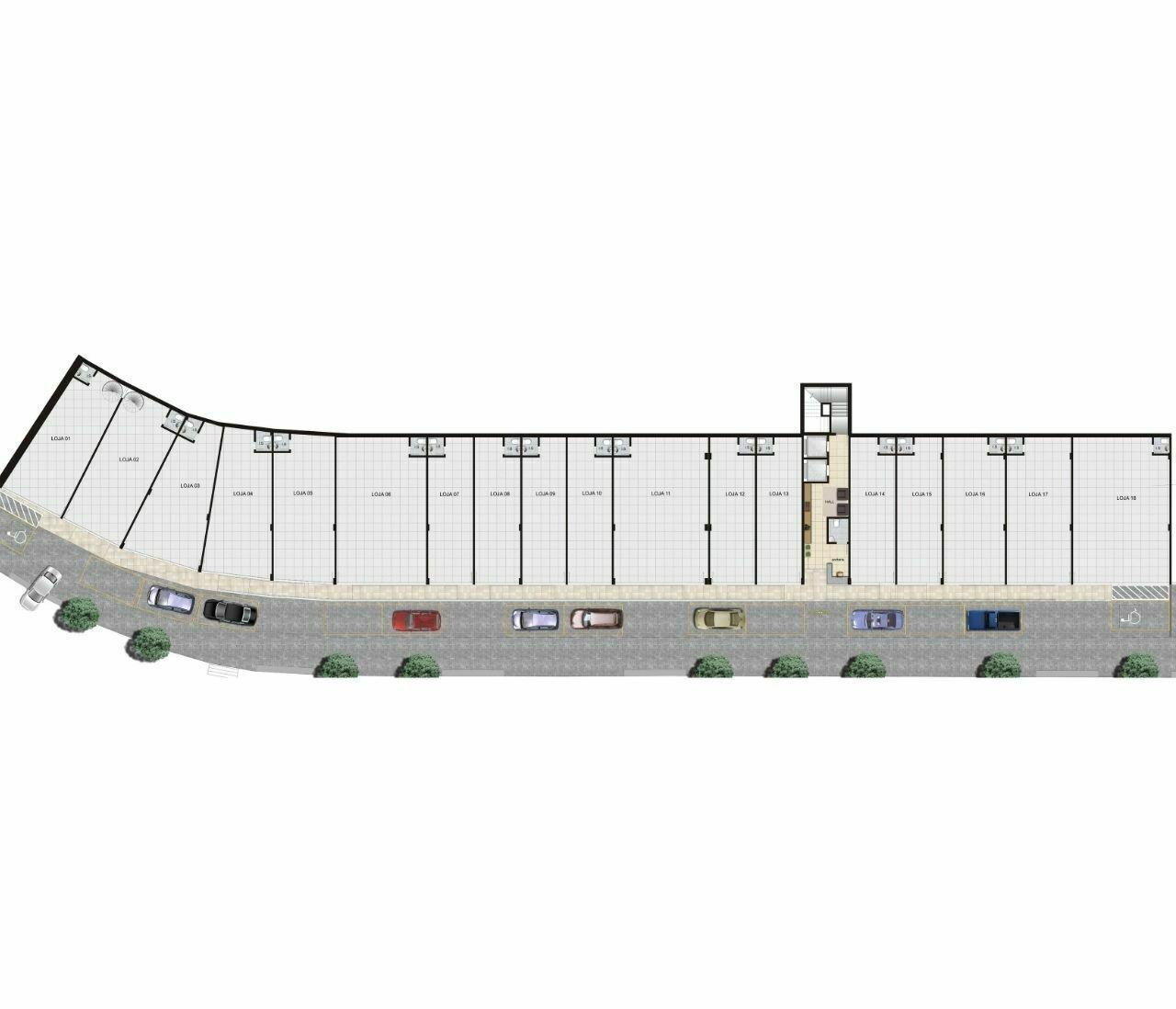 Planta das lojas - 55 m²