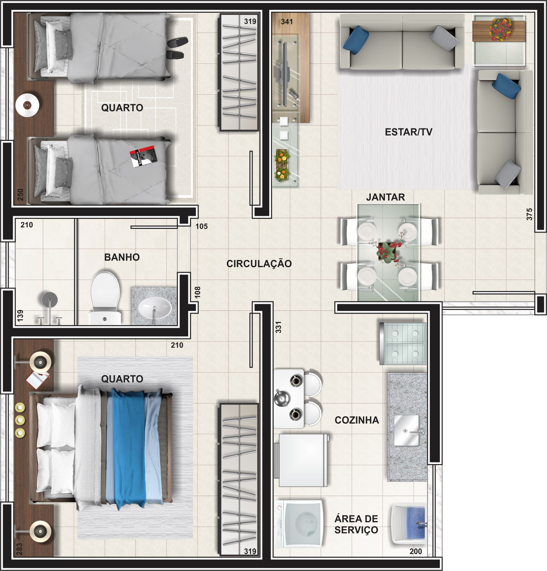 Planta Apartamento - Tipo 01 46.88 m²