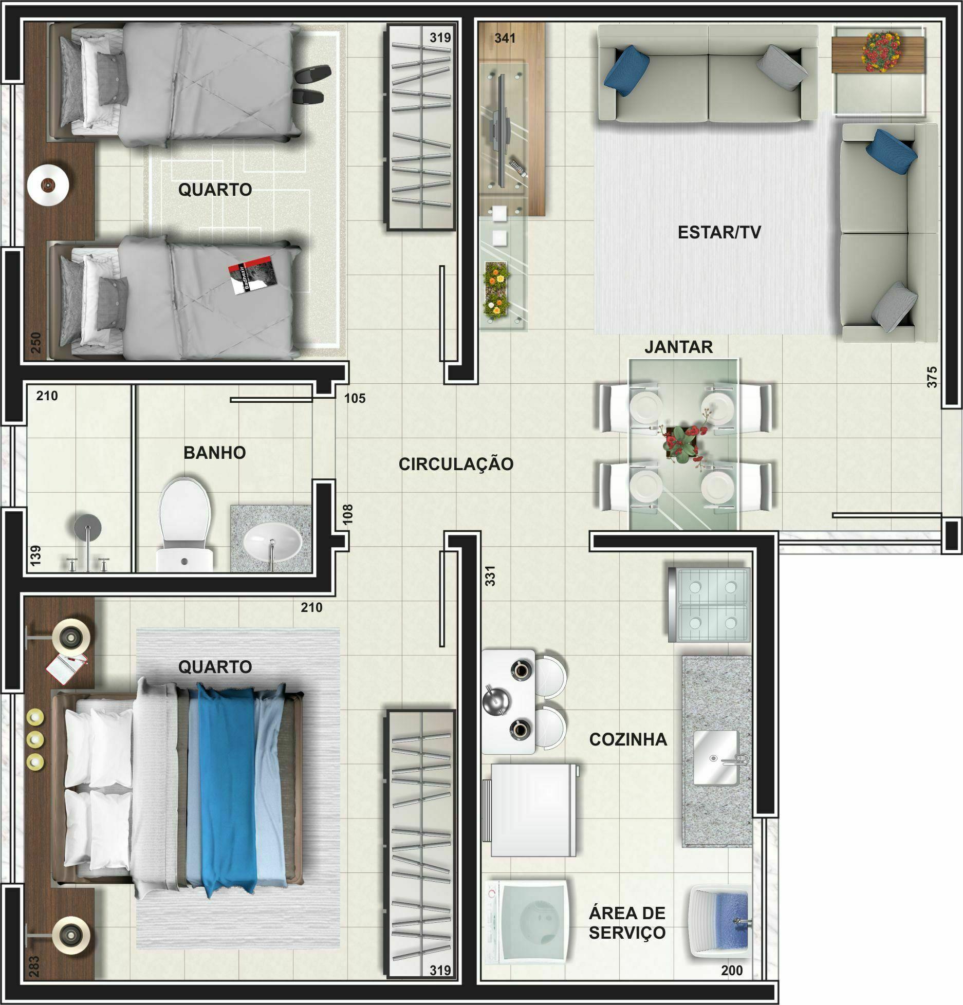 Planta Apartamento - Tipo 01 - 46,88 m²