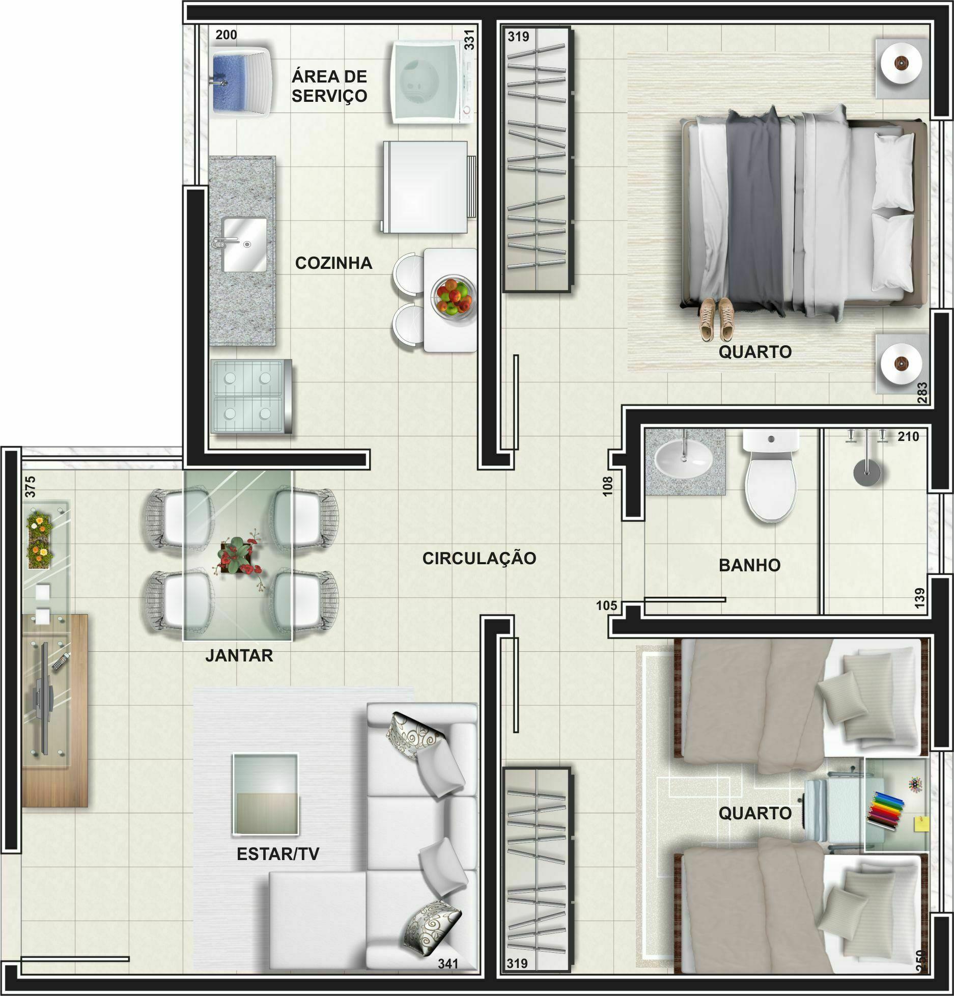 Planta Apartamento - Tipo 02 - 46,88 m²