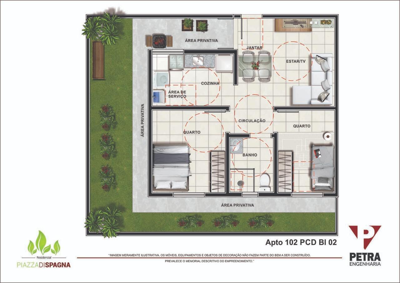 Planta Apartamento 102 PCD - Bloco 02