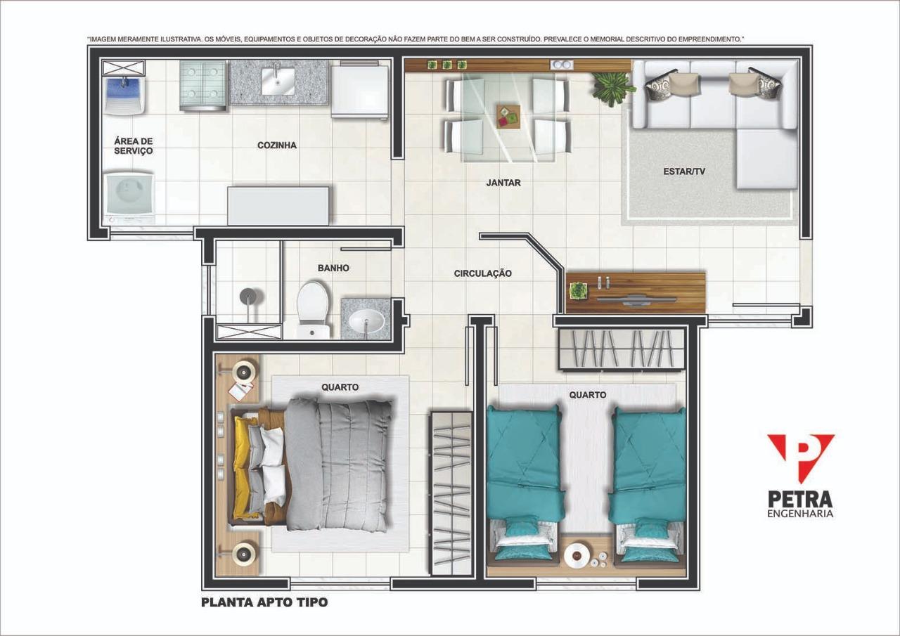 Planta Apartamento - Tipo 02 - 45.56 m²