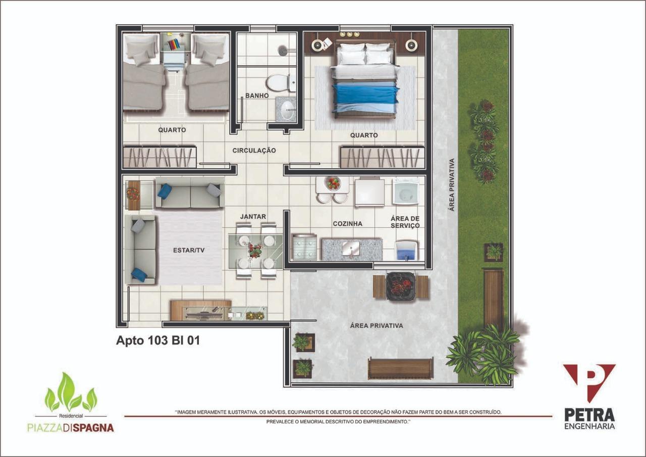 Planta Apartamento 103 - Bloco 01