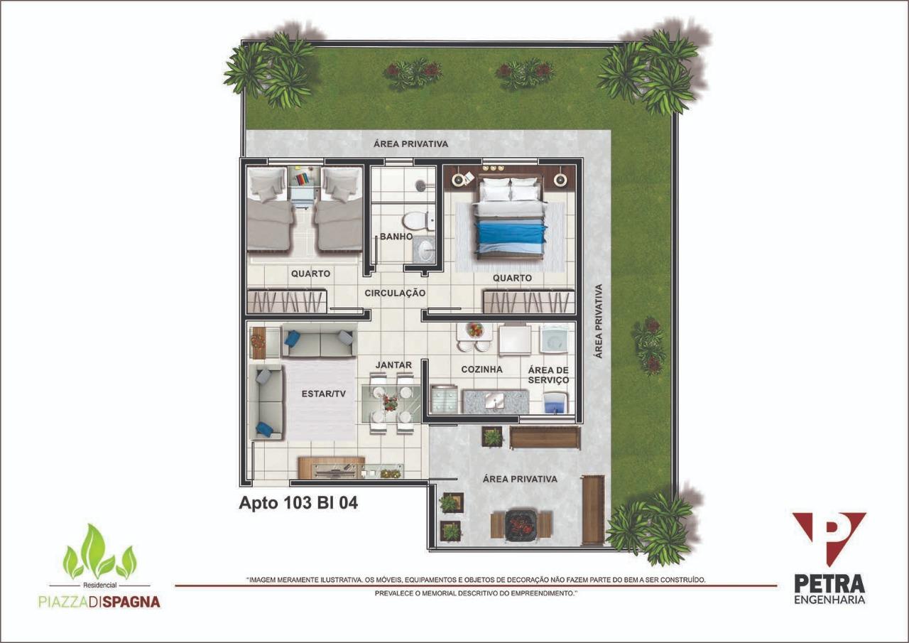 Planta Apartamento 103 - Bloco 04